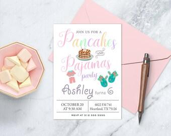 Pancakes and Pajama Party Birthday, Pancakes Cake Party, Sleepover Birthday Invite, Breakfast Birthday Invitation, Pancakes and Pajamas