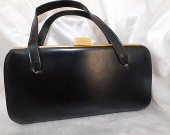 Vintage 1950's  Kelly Style Normandie Canada Black Leather Handbag Purse