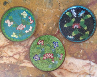 Set of three vintage cloisonne dish/plates with floral motif