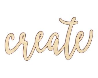 Create - Laser Cut Words - Create Sign - Create Wood Sign - 160178