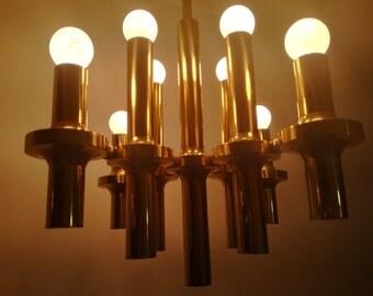 1960 1970 Design Gaetano Sciolari chandelier,mid century,retro Italy. Brass. Mid century