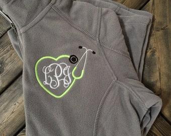 Monogrammed Stethoscope Fleece Jacket