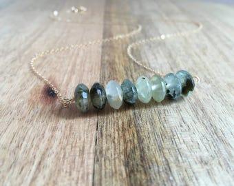 Prehnite Gemstone Bar Necklace - Green Necklace -Green Gemstone Necklace - Gift For Her - Gemstone Necklace - Crystal Necklace