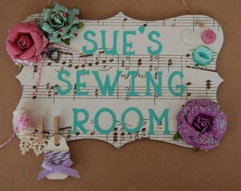 Shabby Chic Craft Room Sign plaque Sewing Room Sign Personalised Any Name. Custom made choice of designs available. Mum's craft Room sign.
