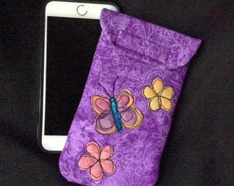 iPhone 6/7 Plus case, Smart phone case, padded batik fabric pouch, Gadget case. Large phone pouch, iPhone bag, eyeglass, iPhone 7 case 6P#30