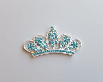"Rhinestone Crown Tiara Embellishment 1""X2"" Crown Tiara Pendant Princess Pendant Flat Back Embellishment Blue"