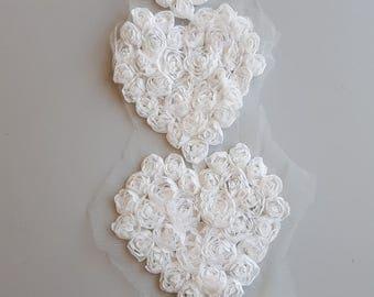 "White 4"" Shabby Chic Chiffon Rosette Flower Heart Applique Chiffon Rose Heart Lace Trim Wedding DIY SET of (4)"