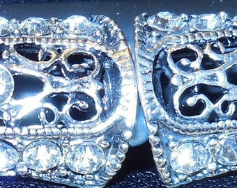 Silver and Rhinestone Bracelet with Toggle Clasp