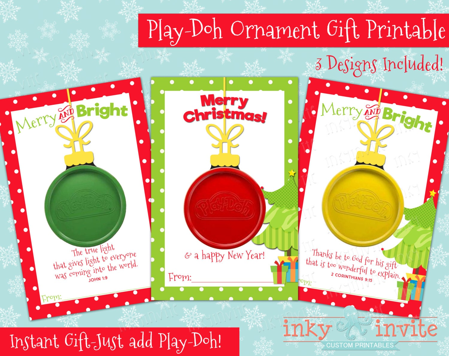 PlayDoh Ornament Gift Card Class Christmas Gifts Small
