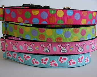 Easter Dog Collars - Glitter Dots, Easter Bunny, Bunny Feet - READY TO SHIP!