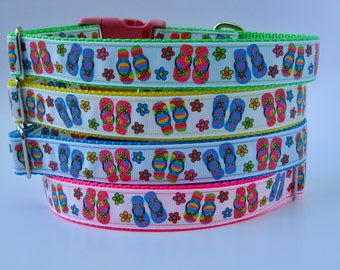 Bright Colored Flip Flop Beach Dog Collar - Ready to Ship!