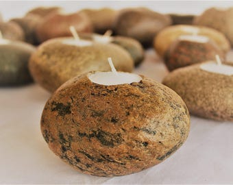 Rock Candle Tea Light, Stone Candle, Available as Sets or Single Stones