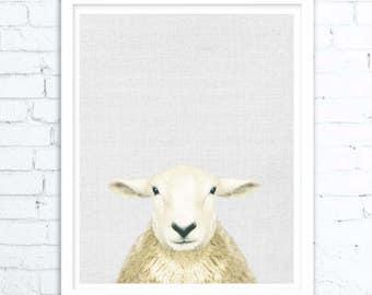 Lamb Print, Lamb Print, Nursery Animal Print, Cute Lamb Print, Little Lamb Photo,Nursery Farm Animal Decor, Black and White Baby Sheep Art