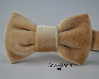 Velvet Bow tie - Cream Bow tie - Men's Bow tie - Baby bow tie - Child bow tie - Wedding accessory - Gift for Him - Gift ideas