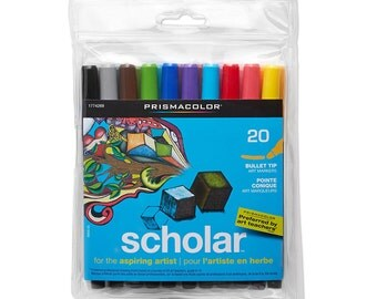 20 Prismacolor Markers, Bullet Tip, Point; Prismacolor Scholar Art Markers; Drawing, Adult Coloring Books