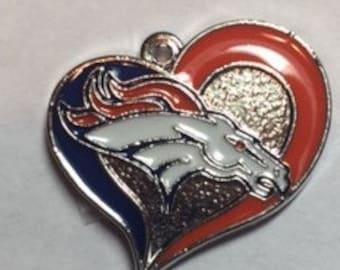 Denver Broncos Heart Charm