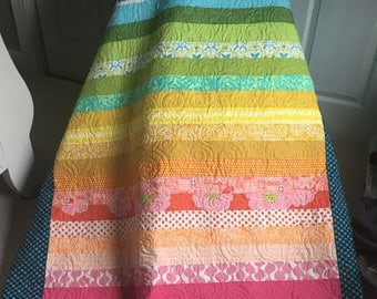 Rainbow Quilt Patchwork Blanket  – 100% Cotton - Crib / Lap  / Twin / Full / Queen  - Made to Order