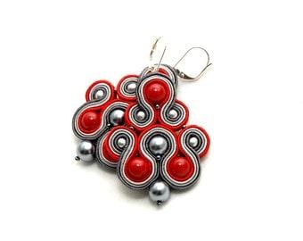 earrings soutache gray-red