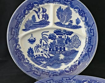 2 Vintage Blue Willow Grill Plates Divided Plates Restaurant Ware Made in Japan