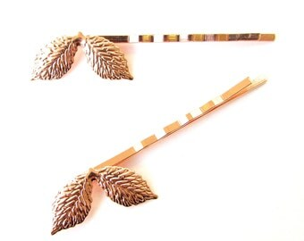 2 x Rose Gold Rose Leaf Hair Grips Baroque Bobby Pins Clips Bridal Grecian 1184