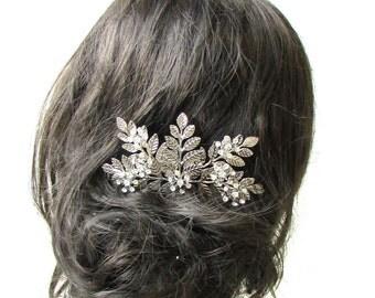 Large Silver Rhinestone Laurel Leaf Hair Comb Bridal Headpiece Vine Grecian 1206