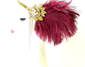 Burgundy Red Maroon Gold Silver Feather Headpiece 1920s Flapper Headband 1746