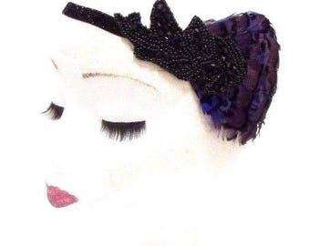 Dark Purple Black Feather Headband 1920s Flapper Vintage Headpiece Gatsby 2809
