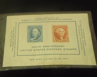 1947 USA 100th Anniversary United States Postage Stamps