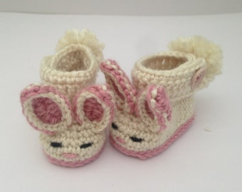 Baby bunny booties. Baby easter gift. Baby bunny boots.pink bunny booties .