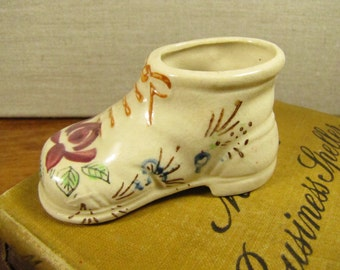 Small Hand Painted Ceramic and Porcelain Shoe - Made in Japan