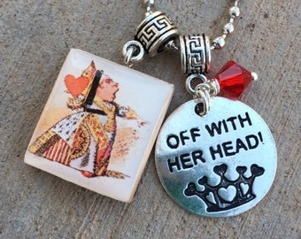 Alice in Wonderland Jewelry, Red Queen Jewelry, The Queen of Hearts Jewelry, Alice in Wonderland Necklace ,