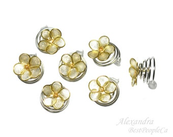 Handmade Hair spiral twists, pins set of 7 Cream Forget-me-not flowers