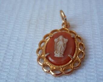 vintage German gold tone metal decorative religious necklace pendant