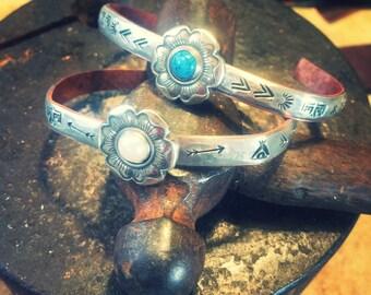 Handmade cuffs, silver cuffs, handstamped, bohemian cuffs, stacker cuffs, personalized cuffs