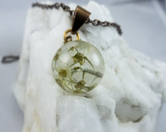 Spherical Wildflower Resin Ball Necklace
