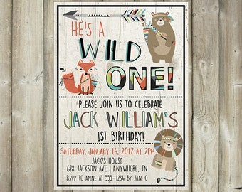 Wild One Birthday Invitation - Boy First Birthday Invite - Boho Tribal Animals - DIGITAL FILE