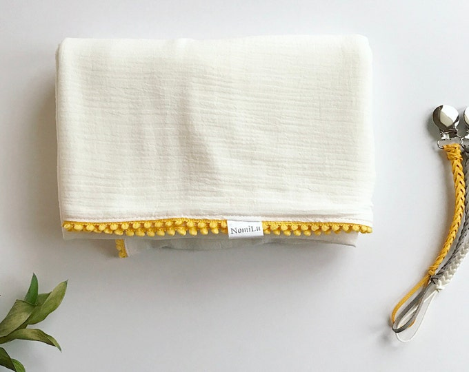 NomiLu Yellow Pom Swaddle Blanket -- Large Double Layered NomiLu Mulsin Pom Blanket -- Cotton Muslin Gauze Swaddle Blanket -- Swaddle