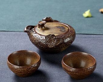 Pottery Teapot with Tea Cups Ceramic Tea Set China Tavel Tea Set