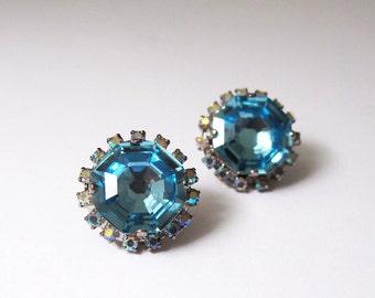 Swarovski Aquamarine crystal stone earrings, Swarovski crystal studs