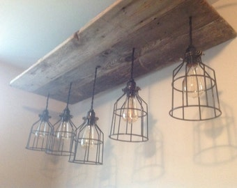 Rustic Barnwoon Light with 5 Light Cages and Edison Bulbs, Ceiling Mount Chandelier