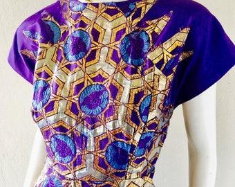 Vintage 50's-60's Rare Metallic Gold Indian Silk Brocade Knee High Dress Rockabilly/theatre/ball Sz Med To Lrg