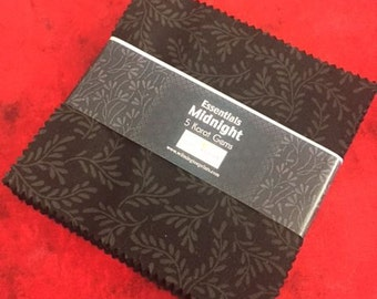 """Midnight Black 5"""" Square Pack from Wilmington Prints by the pack"""