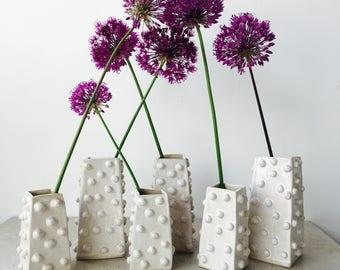 White Bobbled Bud Vases-Handmade