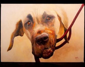 Great Dane Gift * Original Oil Painting on Canvas - Dippy Dane - Art  - Gift  - Pet Portrait