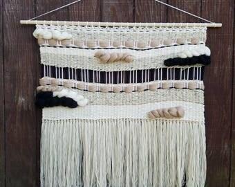 "Weaving, Woven Wall hanging, Macrame, Fiber Art, Tapestry, Mid Century Modern Decor ""Rhode"""