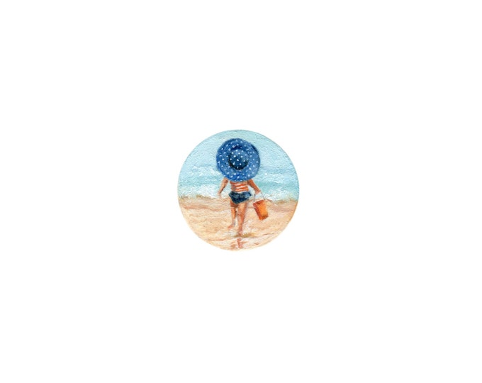 """LAST ONE Print of miniature painting of a Girl on a Beach. 1 1/4"""" x 1 1/4"""" print of original Girl on Beach painting on german etching paper"""