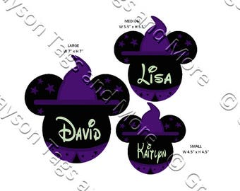 Witch Mickey Head Disney Cruise Door Magnets (3 Sizes to Choose From)