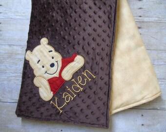 Winnie the Pooh Baby Blanket, Pooh Baby Blanket, Pooh Blanket, Boy Baby Blanket, Pooh Baby Bedding, Pooh Nursery, Baby Blanket, Brown