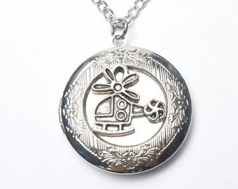 Helicopter Locket Necklace,antique Silver Helicopter Locket Pendant,miniature Helicopter Locket Jewelry