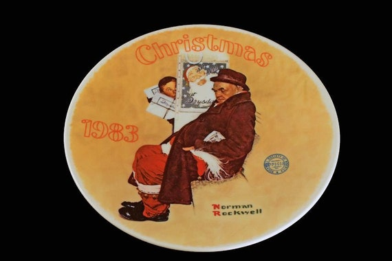 1983 Knowles Collector Plate, Norman Rockwell, Santa in The Subway, Limited Edition, Numbered Plate, Decorative Plate, Collectible Plate